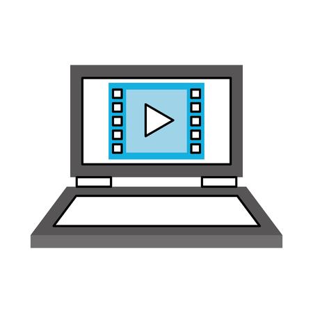 ノート パソコンのメディアプレイヤーと分離アイコン ベクトル イラスト デザイン  イラスト・ベクター素材
