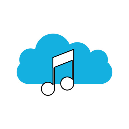 cloud computing with music note isolated icon vector illustration design Illustration
