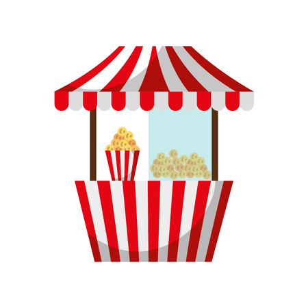 carnival fast food cart with pop corn vector illustration design