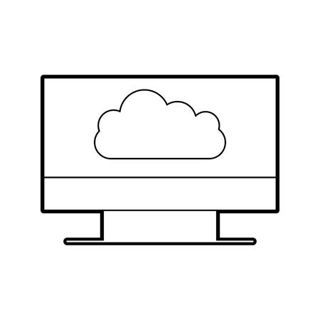 Surveiller ordinateur avec cloud computing vector illustration conception Banque d'images - 84593594
