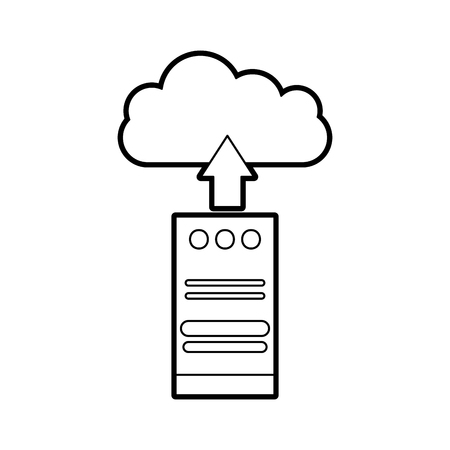 computer tower with cloud computing vector illustration design