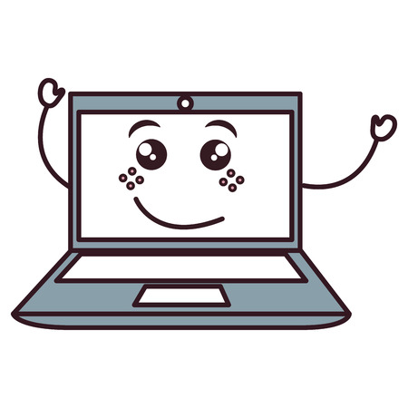 laptop computer kawaii character vector illustration design