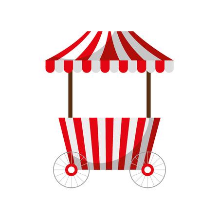 Carrello di alimento veloce di carnevale con progettazione dell'illustrazione di vettore delle ruote Archivio Fotografico - 84593630