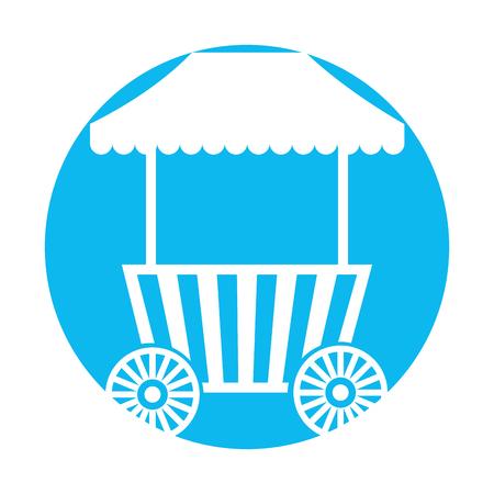 カーニバル ファーストフード カートの車輪を持つベクトル イラスト デザイン