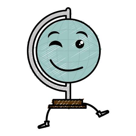 world planet education kawaii character vector illustration design
