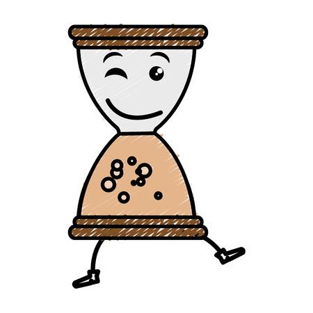 hourglass time kawaii character vector illustration design