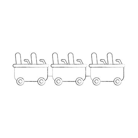 コースター貨車分離アイコン ベクトル イラスト デザイン
