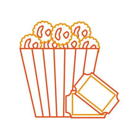 delicious pop corn with tickets vector illustration design