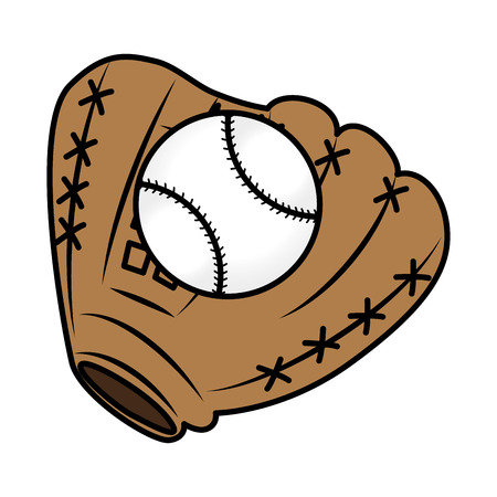 baseball glove with ball vector illustration design