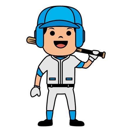 baseball player with bat avatar character vector illustration design