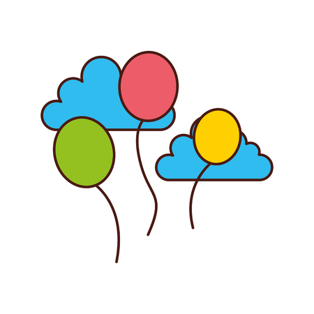 balloons party isolated icon vector illustration design