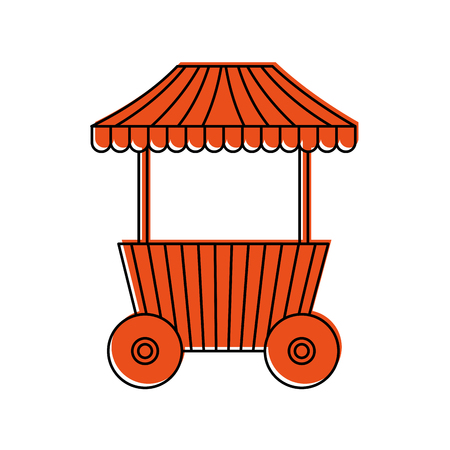 carnival fast food cart with wheels vector illustration design