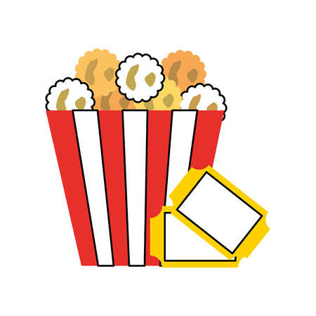 delicious pop corn with tickets vector illustration design