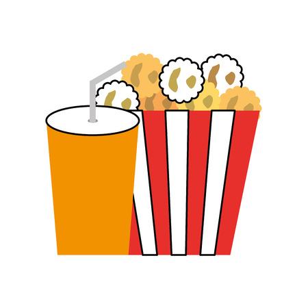 delicious pop corn with soda vector illustration design