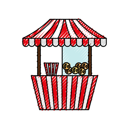 carnival fast food cart with pop corn vector illustration design