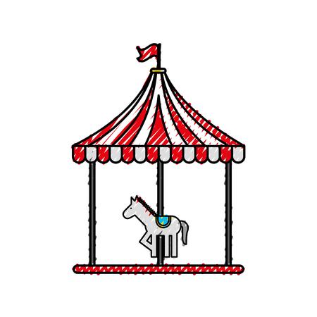 carnival carousel isolated icon vector illustration design Illustration