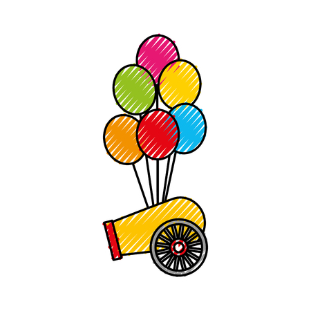 carnival canyon with party balloons vector illustration design