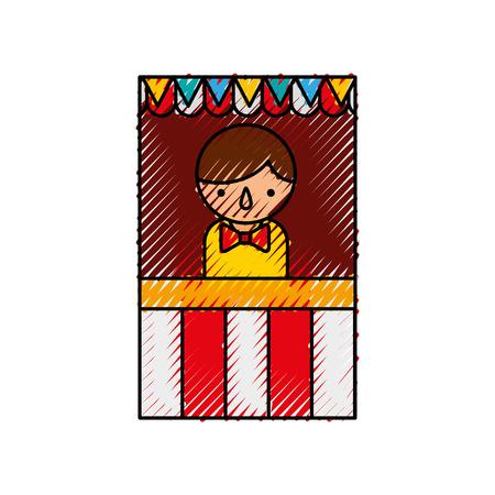 film industry: ticket shop carnival with salesman vector illustration design