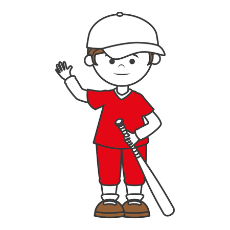 baseball player with bat avatar character vector illustration design