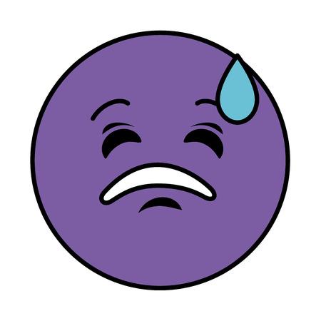 sad emoticon face character icon vector illustration design 向量圖像