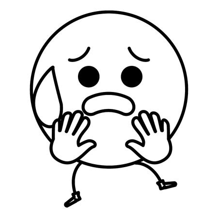 무서워 얼굴 문자 아이콘 벡터 일러스트 레이 션 디자인 이모티콘