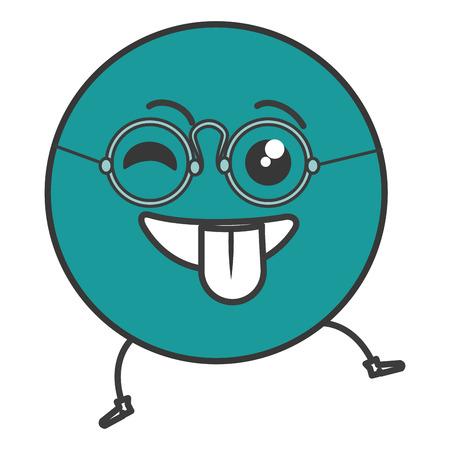 beguin: crazy emoticon face character icon vector illustration design Illustration