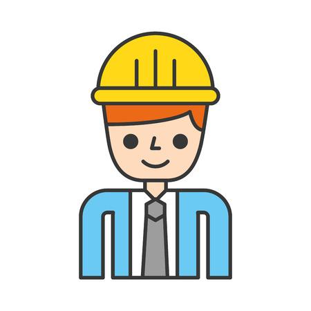 Ingeniero de la construcción avatar ilustración vectorial diseño de personajes Foto de archivo - 84595235