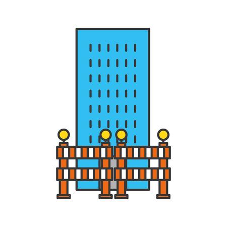 building construction with barriers vector illustration design Çizim