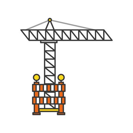 construction crane with fence vector illustration design Çizim