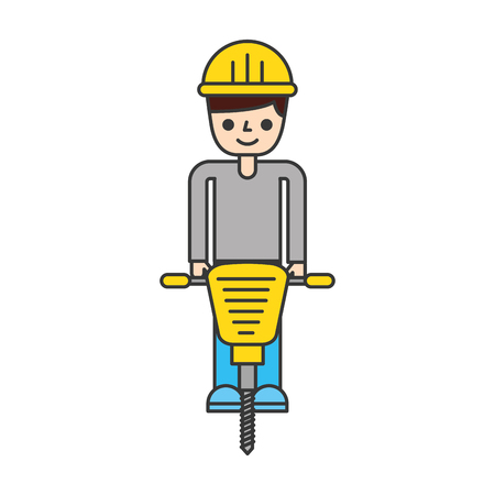 bouwer met het hydraulische ontwerp van de hamer geïsoleerde pictogram vectorillustratie