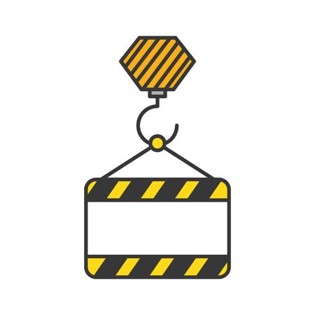 bouw banner opknoping pictogram vector illustratie ontwerp