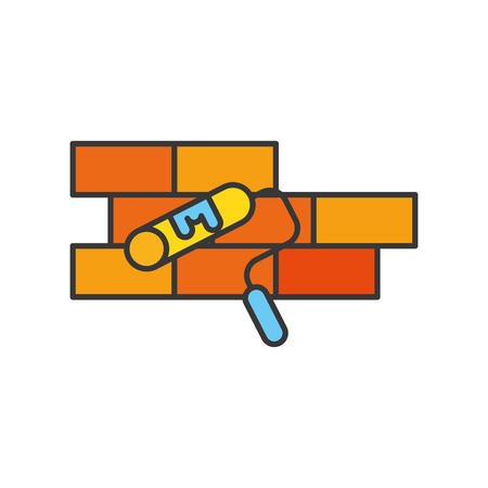 bricks wall with roller paint vector illustration design Ilustrace
