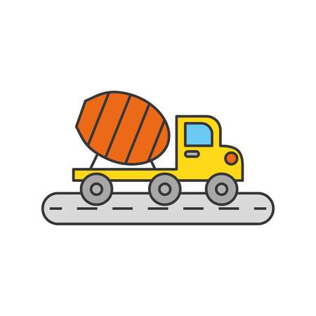 mixer construction vehicle isolated icon vector illustration design