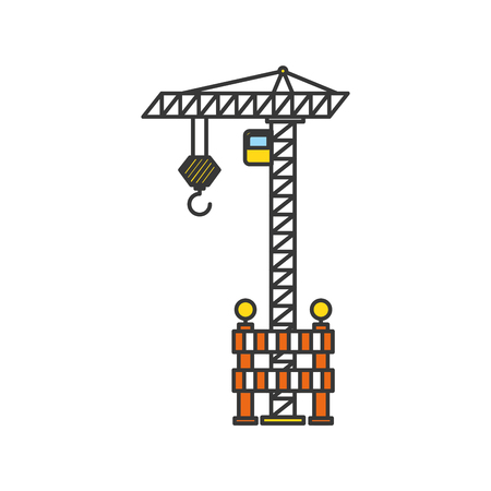 construction crane with fence vector illustration design Ilustração