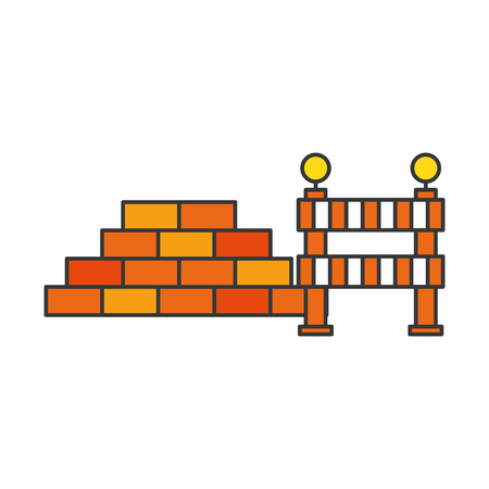 bricks wall with barrier vector illustration design