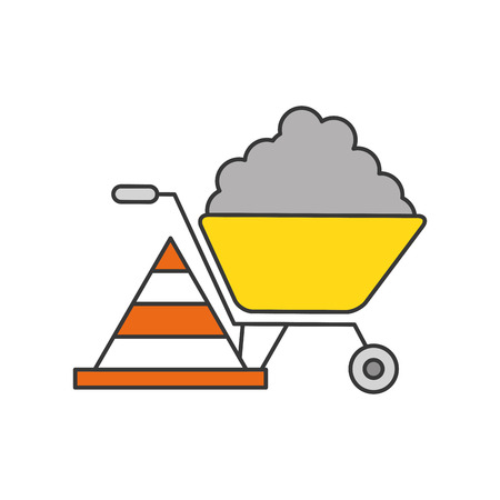 hauling: wheelbarrow construction with cone vector illustration design