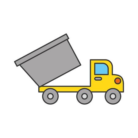 ダンプ トラック建設車分離アイコン ベクトル イラスト デザイン