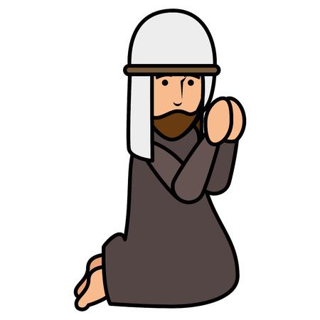 Herder van ontwerp van de het karakter het vectorillustratie van Bethlehem het bidden