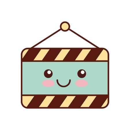 Bau Banner hängen Kawaii Charakter Vektor-Illustration Design Standard-Bild - 84595330