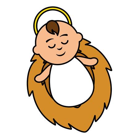 Jesus in the crib vector illustration design