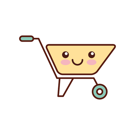 hauling: wheelbarrow construction kawaii character vector illustration design