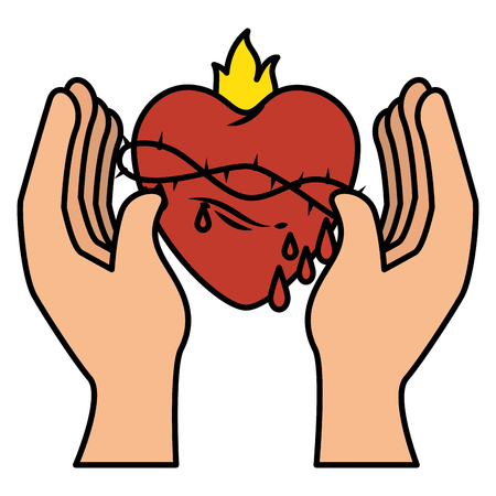 hand human with Sacred Heart of Jesus vector illustration design