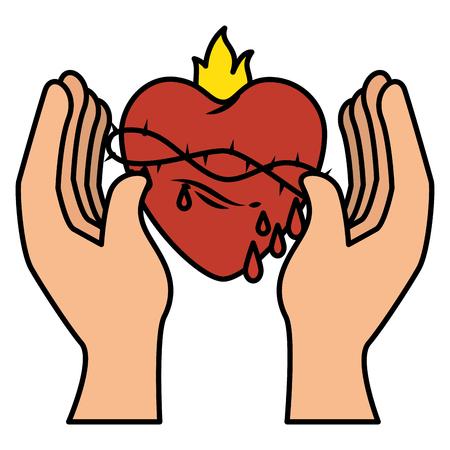 Hand Mensch mit heiliger Herzen der Jesus Vektor-Illustration Design Standard-Bild - 84595336