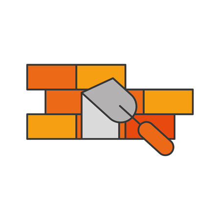 spatula tool with bricks wall vector illustration design