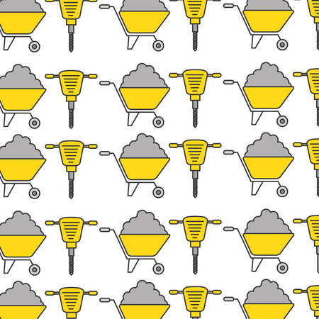 hydraulic hammer and wheelbarrow pattern vector illustration design