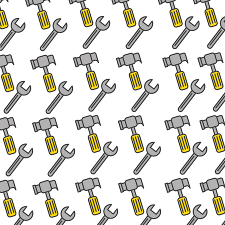 hammer and wrench pattern background vector illustration design Ilustracja