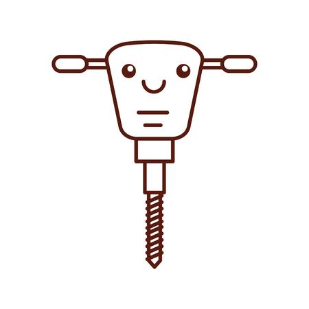 hydraulic hammer kawaii character vector illustration design