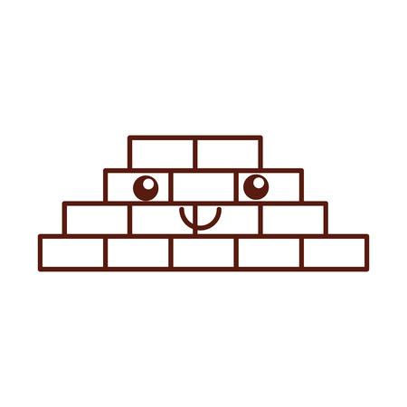 bricks wall kawaii character vector illustration design