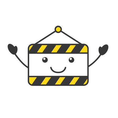 dangerous work: construction banner hanging kawaii character vector illustration design Illustration