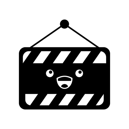 construction banner hanging kawaii character vector illustration design Illustration